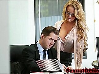 Busty election secretary fucked on bosses desk